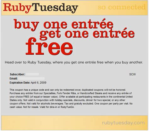 57624 Befrugal Printable Coupons by Coupon For Ruby Tuesday Restaurant Find Me Redbox