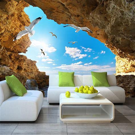 custom murals wallpaper  sky clouds seagulls cave bvm home