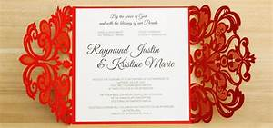 Red laser cut wedding invitations philippines by with for Wedding invitation maker manila