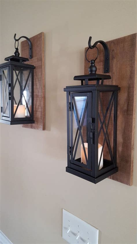 set of 2 medium rustic wall mounted lantern sconces