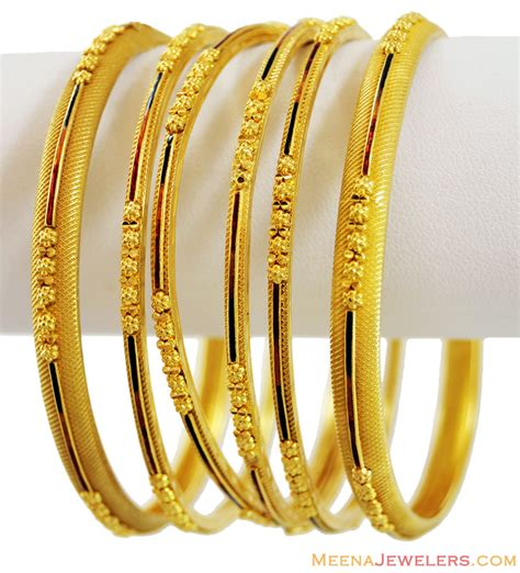 22k dull finished bangles set 6 pc bast13921 22k gold fancy bangles 6 pc set designed