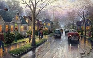 Thomas kinkade christmas tree christmas painting Hometow ...