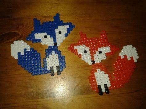 hama bead foxes  beaded animal art  cut