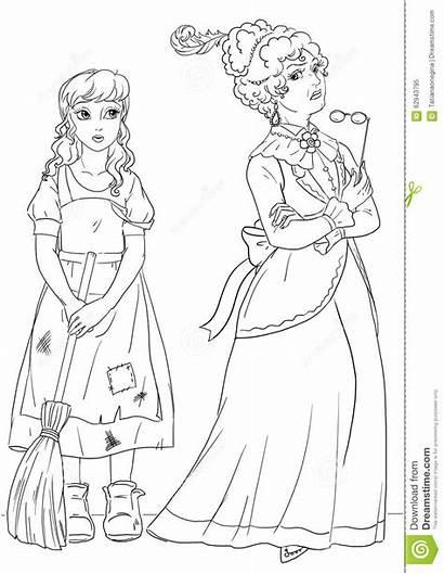 Stepmother Coloring Cinderella Evil Illustration Servant