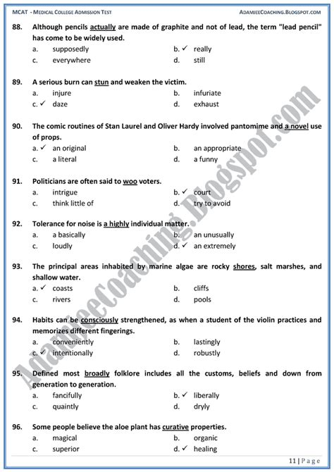 Entry Test by Adamjee Coaching Mcat Vocabulary Mcqs For