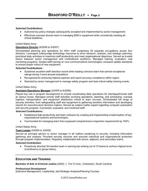 resume to civilian resume exles 2017 2018