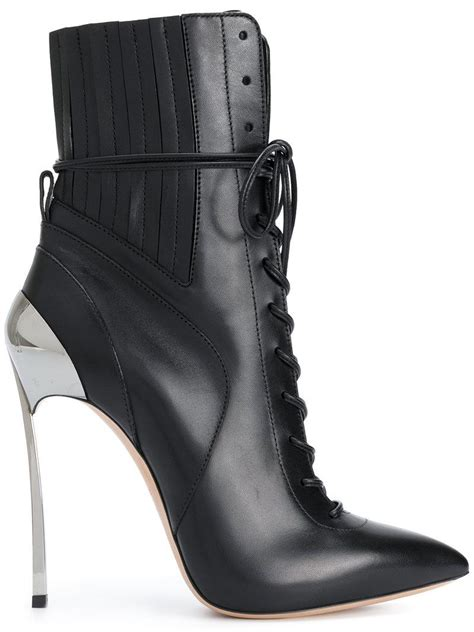 lyst casadei techno blade lace  ankle boots  black
