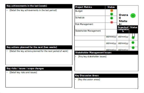 status report templates  sample  format