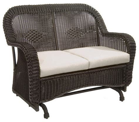 classic wicker outdoor glider with cushions patio