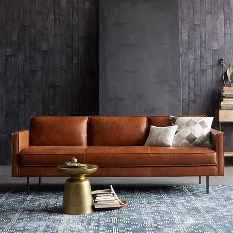 west elm leather axel leather sofa west elm