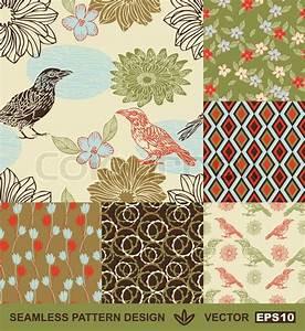 Stoffe Mit Muster : abstract birds hintergr nden satz grafik blumen vektor wallpapers nahtlose muster stoffe ~ Frokenaadalensverden.com Haus und Dekorationen
