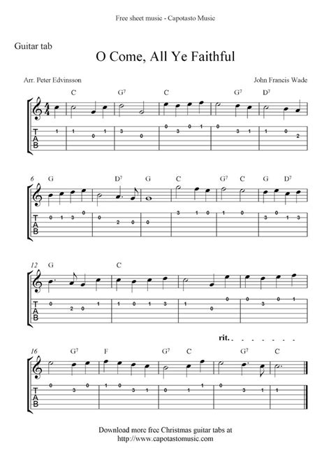 Free and featured premium digital print beginner guitar sheet music arrangements for students that are just starting out though the first year of study. Free Sheet Music Scores: O Come, All Ye Faithful, easy free Christmas guitar sheet music and ...
