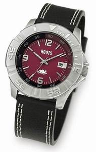 Roots Fast Track Men U0026 39 S Red Dial Leather Strap Watch