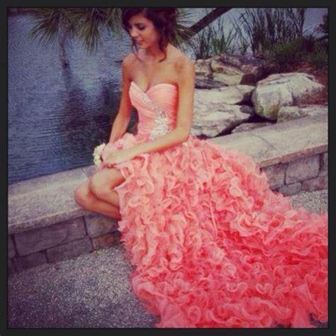 Orange Ball Gown Sweetheart High low Asymmetrical Prom
