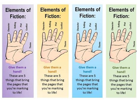 5 Elements Of Fiction Bookmarks  6th Grade Elements Of Fiction Plot  Pinterest Bookmarks