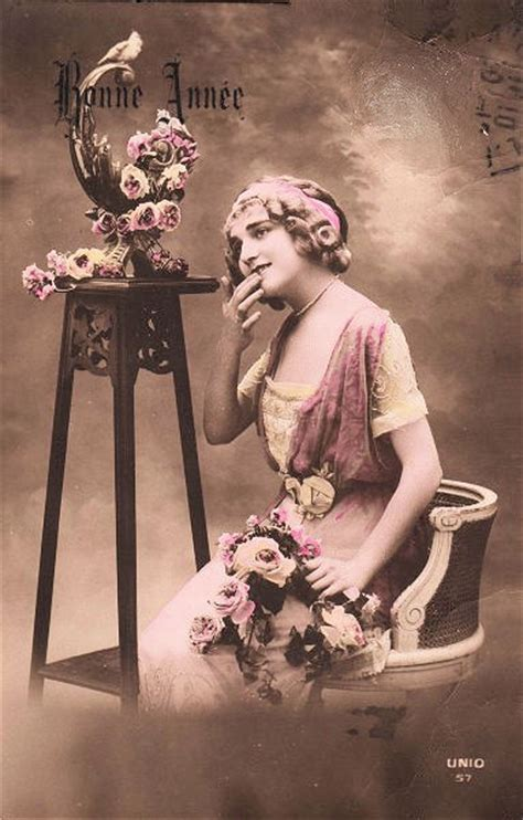 vintage sepia postcard french woman  graphics fairy