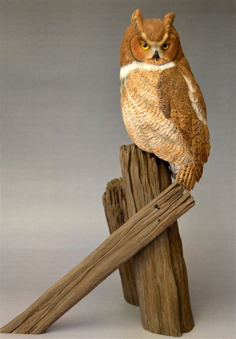 great horned owl  miniature carving wildfowl