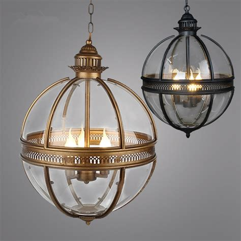 vintage loft globe pendant light wrought iron glass shade