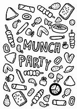 Dinner Colouring Invitation Munch Snacks Coloring Printable sketch template