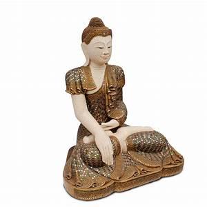 buddha statue sitzend figur 100 cm holz gold glas mosaik With französischer balkon mit buddha figur garten 100 cm