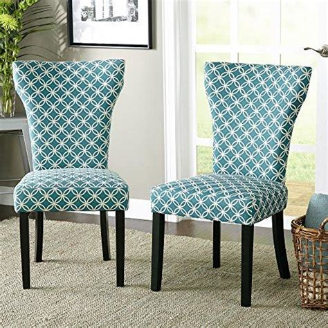 set   modern teal pattern fabric accent dining chairs