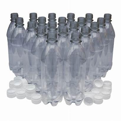Bottles Pet Clear 500ml Plastic Caps Pack