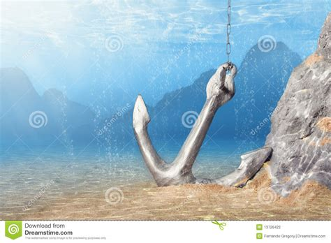 anchor underwater stock photography image