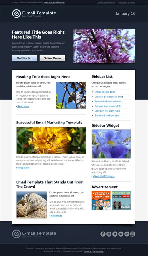 html email template modern html email template free mail templates