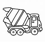 Coloring Mixer Cement Concrete Simple Truck Sketches Colouring sketch template