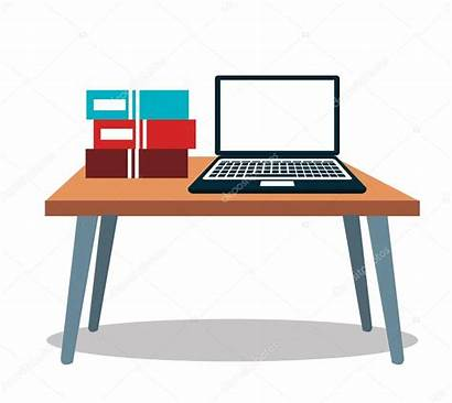 Computer Table Books Laptop Icon Illustration Vector