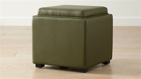 stow olive green  leather storage ottoman reviews