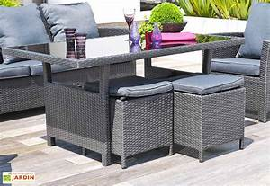 salon de jardin aluminium resine tressee coussins festy With canape resine tressee exterieur 7 mobilier jardin bambou