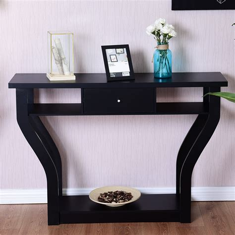 giantex accent console table modern sofa entryway hallway wood display desk  drawer living