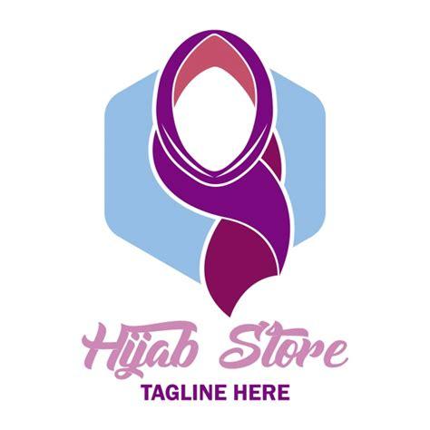 elegant hijab logo vector premium