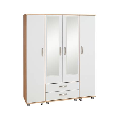 Wardrobe With Drawers And Mirror by Regal 4 Door 2 Drawer Wardrobe With Mirrors Budget Beds