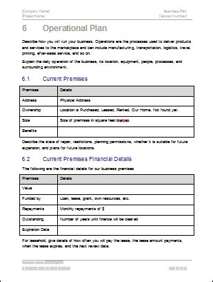 Operational Plan Template Excel