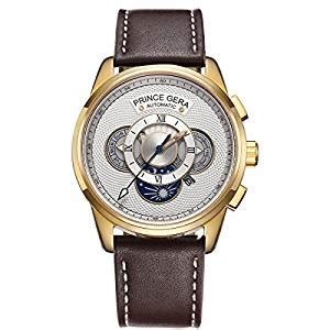 prince gera gold s automatic watches waterproof calfskin brown leather straps