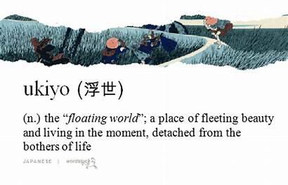 Japanese Floating Aesthetic Ukiyo Paintings Words Word