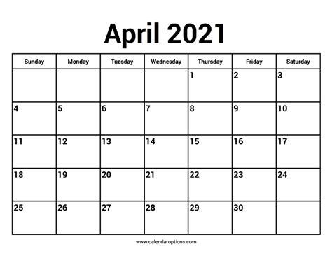 april  calendars calendar options