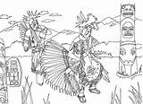 Native Americans Totem Coloring Indians Adult Dancing Pages Dance American Adults Marion sketch template