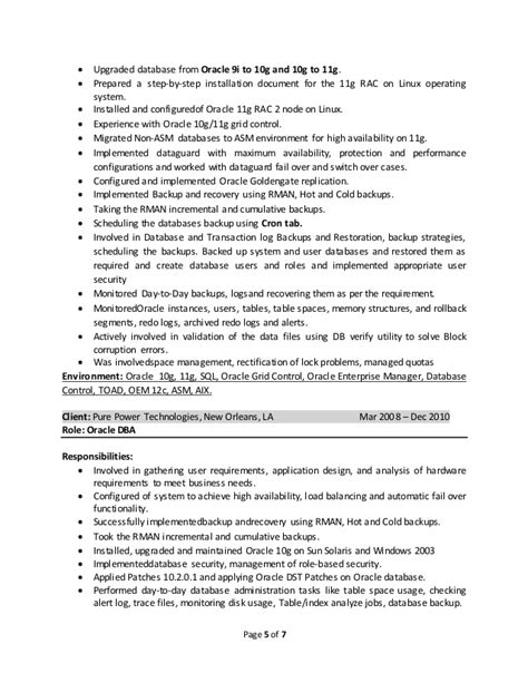 Oracle Dba Resume Format by Oracle Dba Resume Haadyaooverbayresort