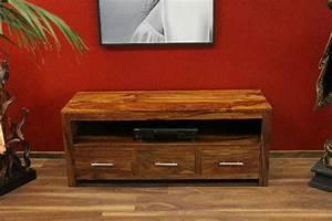 Hifi Möbel Holz : sideboard tv hifi schrank holz massiv sheesham 135x55x45 ~ Indierocktalk.com Haus und Dekorationen