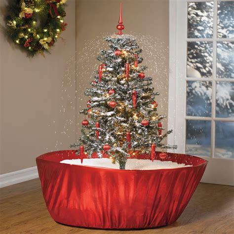 tabletop snowing christmas tree  green head