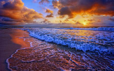 Beaches Sea Ocean Waves Sunset Sky Clouds