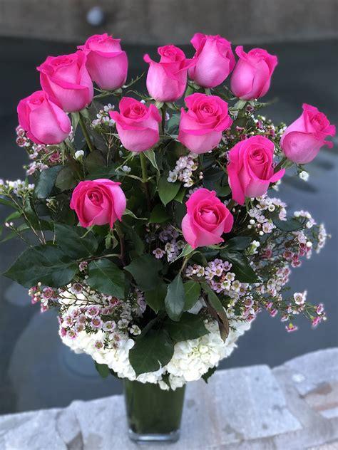 flowers in a vase pauline dozen stem pink roses in a vase in torrance