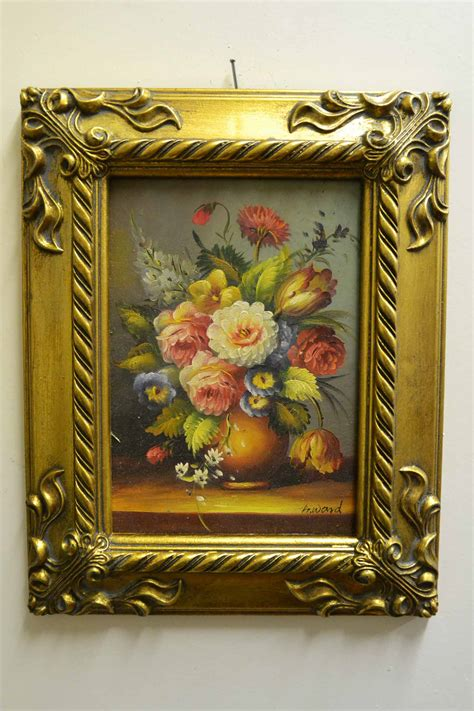 oil painting flowers giltwood frame ref  p