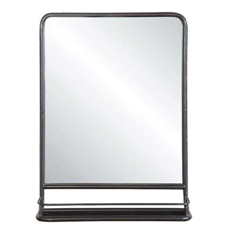 Black Industrial Bathroom Mirror by Metal Mirror W Shelf Da4675