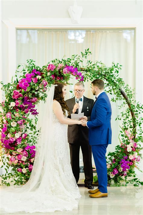 Bride and Groom Exchanging Vows at Indoor Downtown Tampa