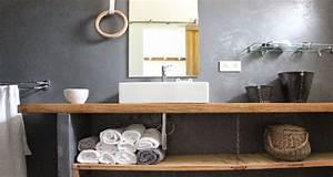 Plan De Travail Salle De Bain Bois : plan vasque faire soi m me en b ton bois carrelage ~ Teatrodelosmanantiales.com Idées de Décoration