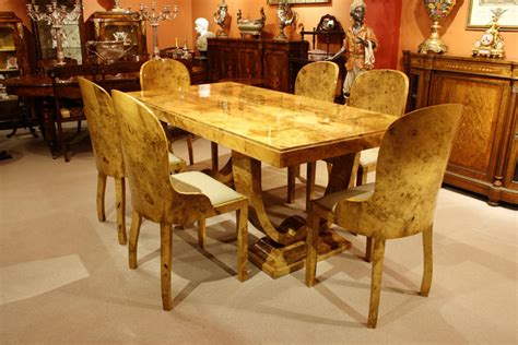 stunning deco birdseye maple dining table 6 chairs